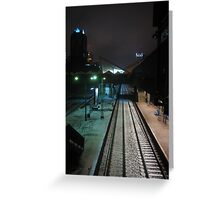Warsaw modernist railway station by night Greeting Card