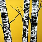 yellow birches by pinetreeart