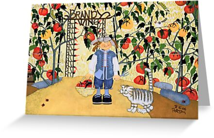 """Brandywine Tomatoes"" greeting card by Dawn Peterson"