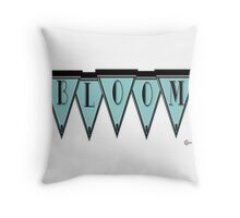 Manhattan 1920s Deco Blues Banner... BLOOM Throw Pillow
