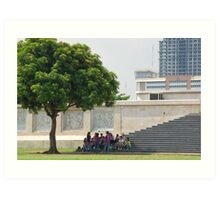 Quezon Memorial Circle activity: students meeting under the tree 24 Art Print
