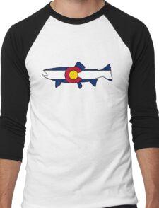 Colorado flag trout fish Men's Baseball ¾ T-Shirt