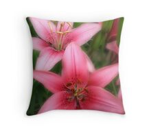 Pink Beauties-early morning flowers Throw Pillow