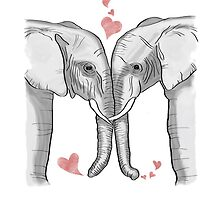 Ink and Watercolor Elephants in Love by BelovedEarth