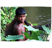The boy and fishing net Poster