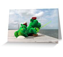 Loch Ness monster on vacation Greeting Card