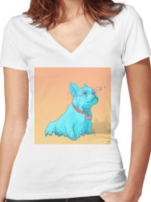 Psychedelic French Bulldog Women's Fitted V-Neck T-Shirt
