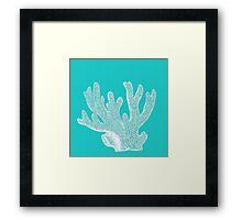 Aqua Blue with White Coral Framed Print