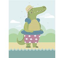 Alligator on the beach Photographic Print
