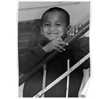 a smile. young monk india Poster