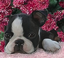 puppy & flowers by Cazzie Cathcart