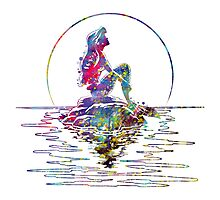 The Little Mermaid Ariel Silhouette Watercolor Photographic Print