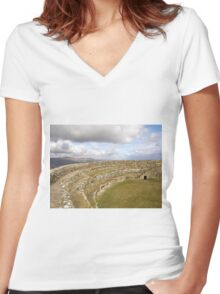 Ancient Stones Donegal, Ireland Women's Fitted V-Neck T-Shirt