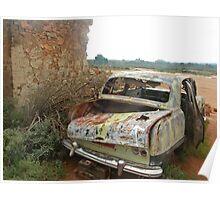 Old Car at Silverton near Broken Hill Poster