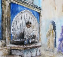 Little Boy at the Fountain by Vanessa Zakas