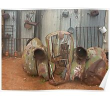 Old car parts out at Silverton near Broken Hill Poster