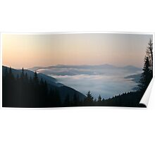 Morning above cloudscape Poster