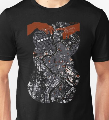 Rome city map engraving Unisex T-Shirt