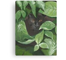 Black Panther in the Jungle (green, black) Canvas Print