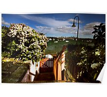 A Simple Backyard With A Wooden Gate Poster