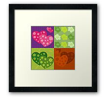 Retro Patch Floral Design Illustration Framed Print