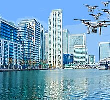 Drone swarm over the Docklands! by TimConstable