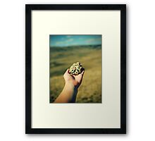 hand with a stone Framed Print