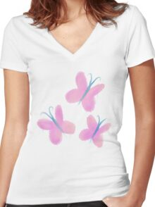 Painted Fluttershy Women's Fitted V-Neck T-Shirt
