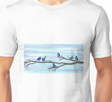 Painted Bluebirds on a Branch Unisex T-Shirt