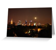 City by night - Warsaw skyline Greeting Card