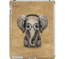 Cute Baby Elephant Dj Wearing Headphones and Glasses iPad Case/Skin