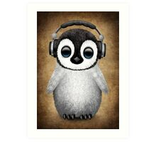 Cute Baby Penguin Dj Wearing Headphones Art Print