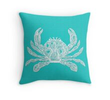 Aqua Blue with White Crab Throw Pillow