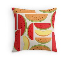 Watermelons Colorful Vector Illustration Throw Pillow