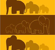 Elephants Colorful Vector Illustration by EveStock