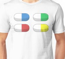 Pills - Red,Blue,Green,Yellow Unisex T-Shirt