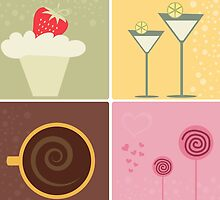 Cafe Coffee & Chocolate Vector Illustration by EveStock