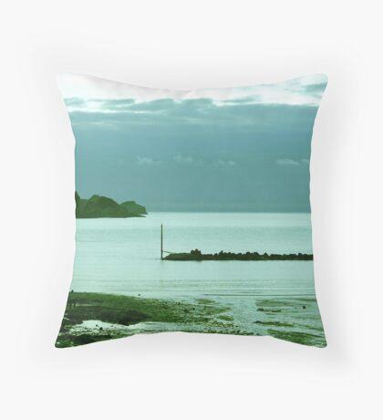 A Rainy Autumn Evening on the Beach Throw Pillow