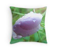 Wet Wild Rose Bud Throw Pillow