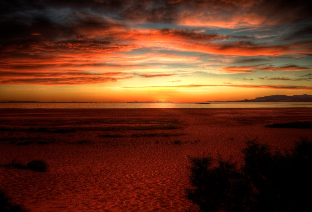 Sunset over the Great Salt Lake by Terence Russell