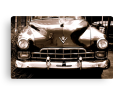 1948 cadillac front in closeup-b&w  sepia Canvas Print