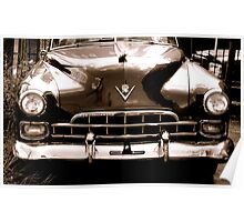 1948 cadillac front in closeup-b&w  sepia Poster