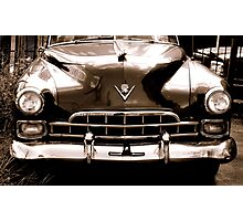 1948 cadillac front in closeup-b&w  sepia Photographic Print