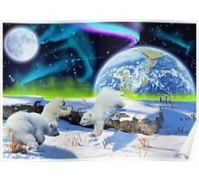 Three Playful Polar Bear Cubs & Aurora Earth Day Art Poster