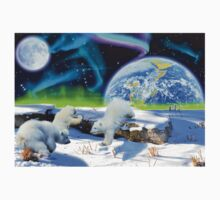 Three Playful Polar Bear Cubs & Aurora Earth Day Art One Piece - Long Sleeve