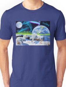 Three Playful Polar Bear Cubs & Aurora Earth Day Art Unisex T-Shirt