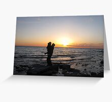 father son silhouette Greeting Card