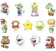 Mario Characters in Watercolor by OlechkaDesign