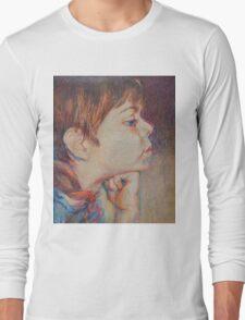 Double Pensive - Portrait Of A Boy Long Sleeve T-Shirt