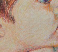 Double Pensive - Portrait Of A Boy Sticker